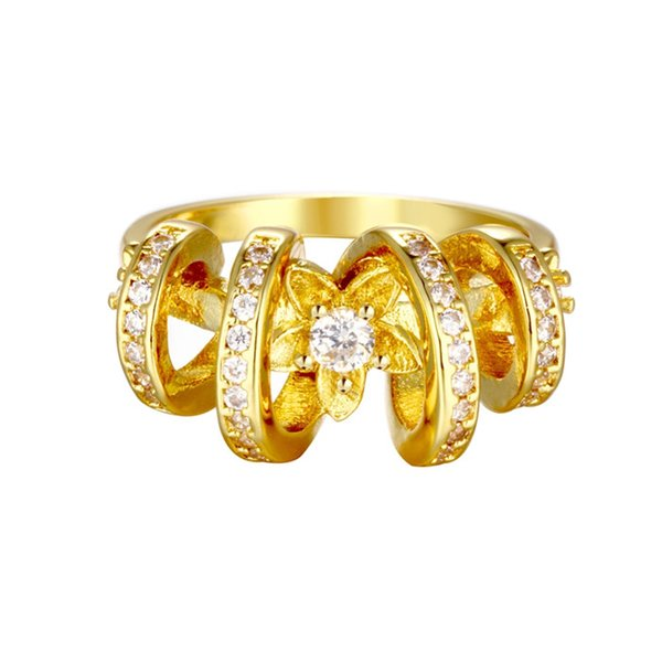 Yellow and Rose Gold Plated Jewelry Flower Ring with Austrian Crystal Big Rings for Women Ornamentation R106