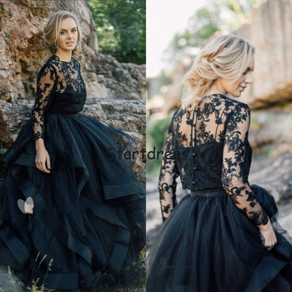 Princess Illusion Top Lace Black Gothic Wedding Dresses Two Piece Sleeve Winter Appliques Garden Country Bridal Gowns Button Back Plus Size