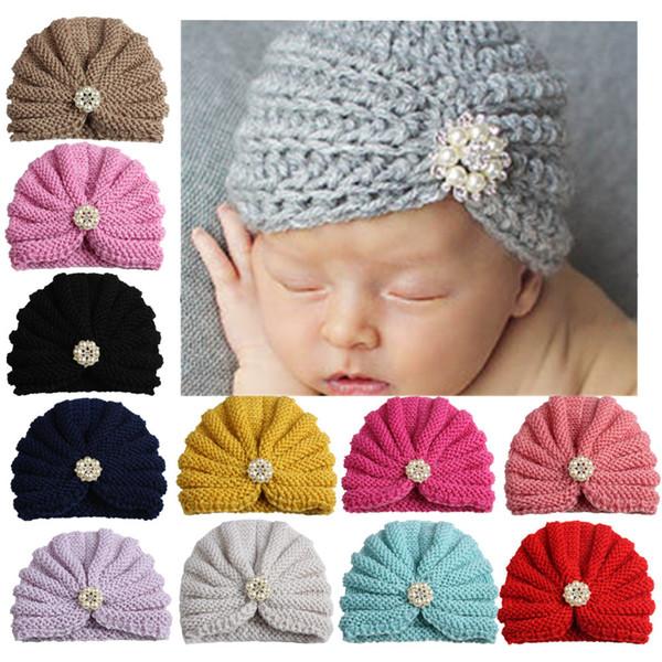 Newborn Knit Crochet Knot Elastic Turban Hut Stirnband Kids Girls Head Wrap Haarbänder Wärmer Stirnband Pearl Hairband Zubehör