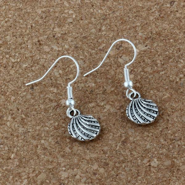 Sea Shell Earrings Silver Fish Ear Hook 20pairs/lot Antique Silver Chandelier Jewelry