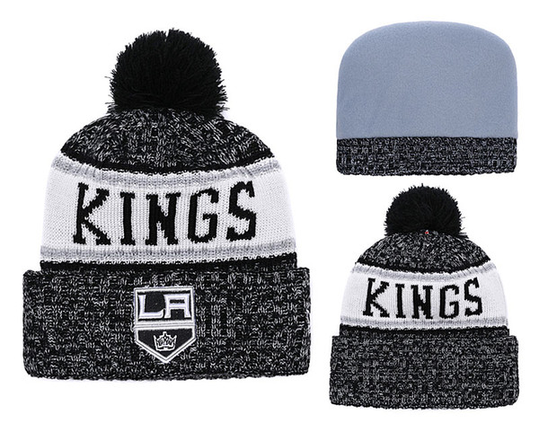 2018 New Classic LA Sport Hockey Kings Skullies Hat Pom Cuffed Knitted Hats With Embroidered Team Logo Fans Fashion Winter Warm Beanies