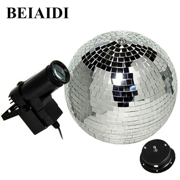 BEIAIDI D20CM Reflective Glass Rotating Mirror Ball With Motor Fixture + 10W RGB Beam Pinspot Disco DJ Stage Light DJ Disco Lamp