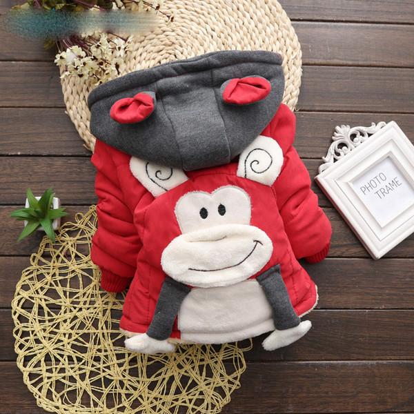 Cutyome BaBy Meninos Meninas Casaco De Inverno Crianças Casacos Com Capuz Macaco Dos Desenhos Animados Camisola de Algodão-acolchoado Outerwear Criança Moda Roupas
