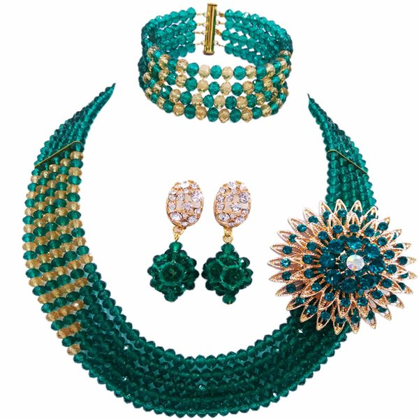 Großhandel 12 stücke Teal Green Gold Multi Strands Aussage Halskette Nigerian Perlen Afrikanischen Schmuck Set Kristall Hochzeit Sets 5JZ18