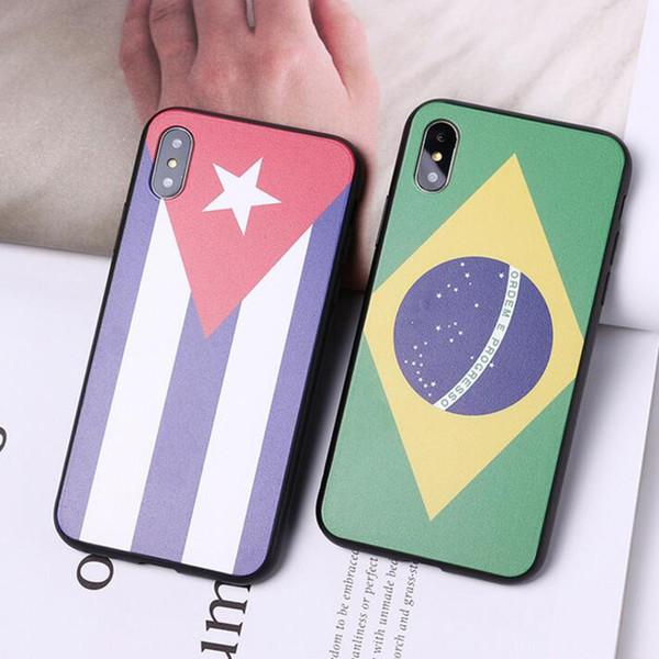 2018 Rusia World Cup Bandera del equipo nacional España Alemán Ruso EE.UU. EE. UU. Corea Corea TPU + PC Cubierta de la caja del teléfono para iPhone X 7 8 Plus 6 6S buena