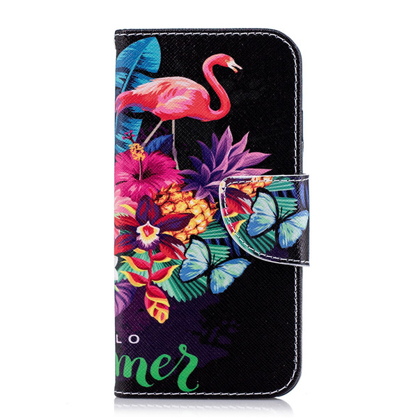 Red Phoenicopteridae Cell Phone Flip Case Cover PU Leather with Wallet Card Holder Phone Stand 80 Models