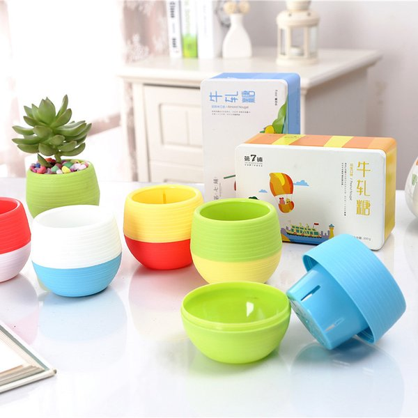 Free Shipping Creative Recycle Flower Pots Gardening Plastic Colorful Ball Vase Meaty Plants Mini Vase Hot Sale