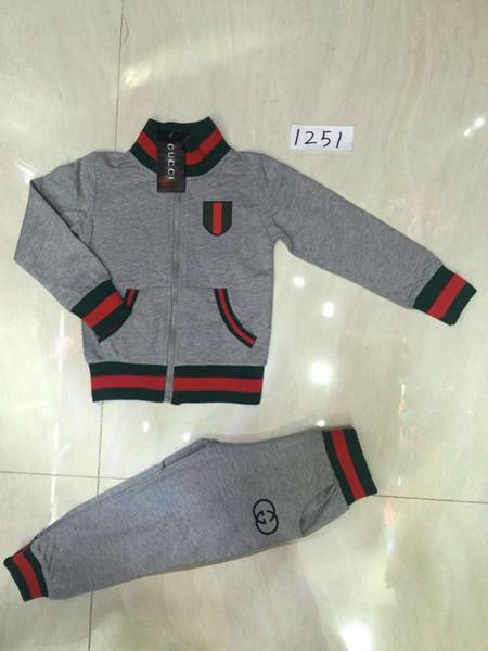 Xinxin 2018 Yeni Ürün Sonbahar Boys Set Saf Pamuk Standı Yaka Ceket uzun Pantolon Iki parçalı Takım Elbise Sokak Stili Moda Rahat Çocuk Giyim