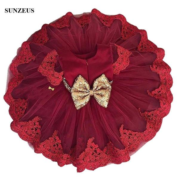 Burgunder Blumenmädchen Kleider A-Linie Kurzarm Kinder Party Kleid mit Applikationen Gold Pailletten Bow Kinder Abend Formelle Kleidung