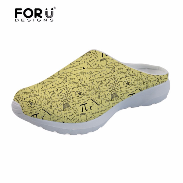 05385c3e56fd1 FORUDESIGNS Summer Flats Sandals for Men Casual 3D Math Pattern Men s  Breathable Mesh House Sandals Beach Water Shoes Slippers