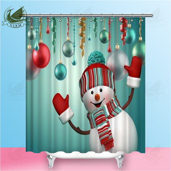 Vixm 3D Happy Snowman Party Celebrating New Year Holiday Background Shower Curtains Polyester Fabric Curtains For Home Decor