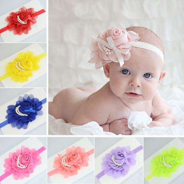 Newborn Baby Girl Elastic Headband Chiffon Flower Pearls Hair Band Accessories