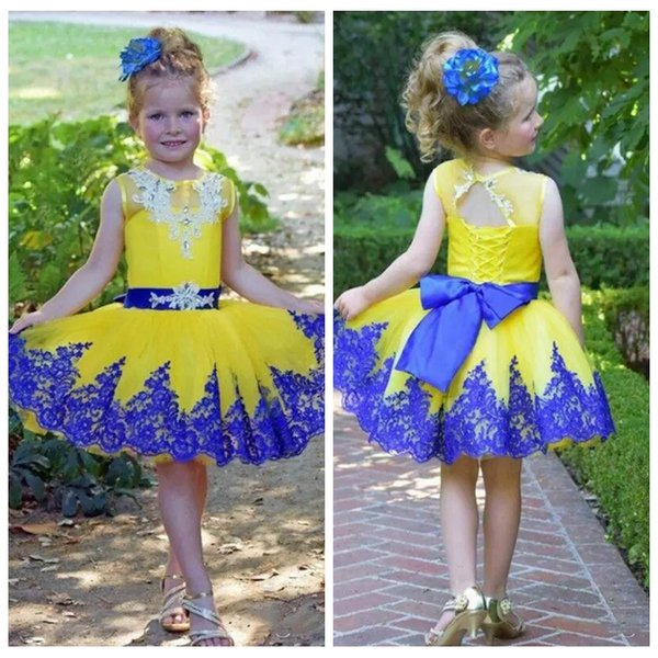 O-Neck Short Formal Knee-Length Flower Girls Dresses Lace Appliques Ribbon Kids Birthday Party Gowns Beading 2019 Customized Pageant Wear