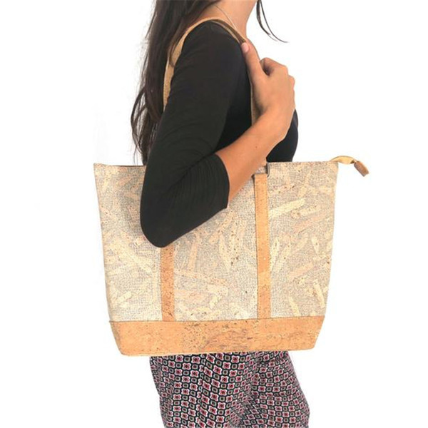 Cork bags cork handbag for women natural with White wood grain handmade Original fashion handbag BAG-318-C