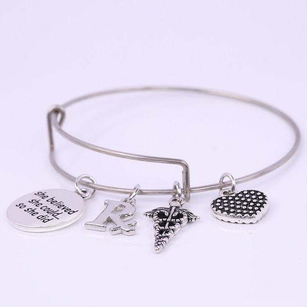 lemegeton Stainless Steel Expandable Wire Bangle Pharmacy Symbol RX & She believed she could...so she did Word DIY Charm Bracelet