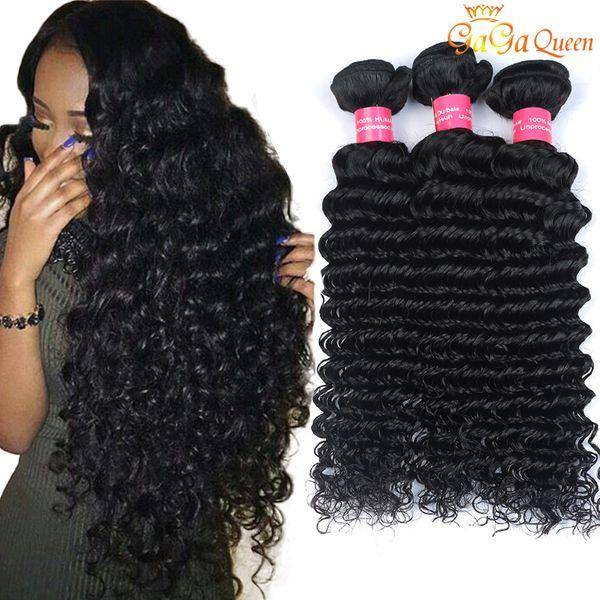 4 bundle brazilian deep wave virgin hair unproce ed brazilian human hair exten ion mink brazilain virgin hair deep wave very oft, Black