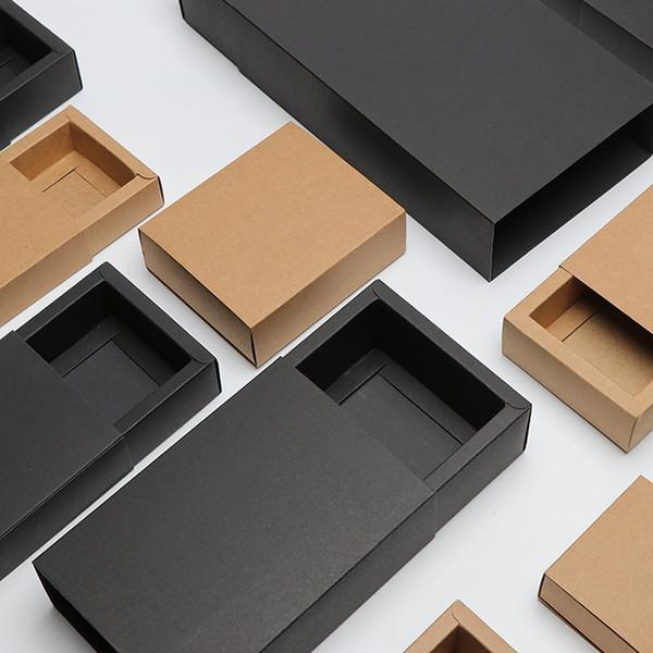 Çekmece Tipi Kraft Kağıt Hediye Kutusu Siyah Kahverengi Renk Boş Kutu Düğün Çerezler Için Kolay Montaj Ambalaj Kutusu Chocolat Hediye Paketleme