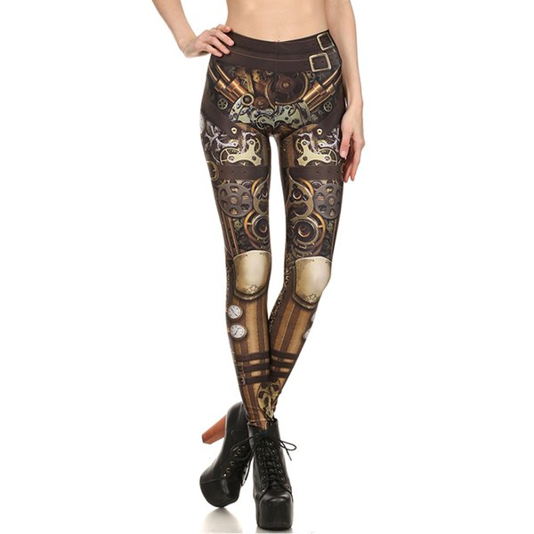 2018 Womens Digital Steampunk Print Sport Yoga Pants Skinny Workout Quick Dry Stretch Leggings Compression Trousers