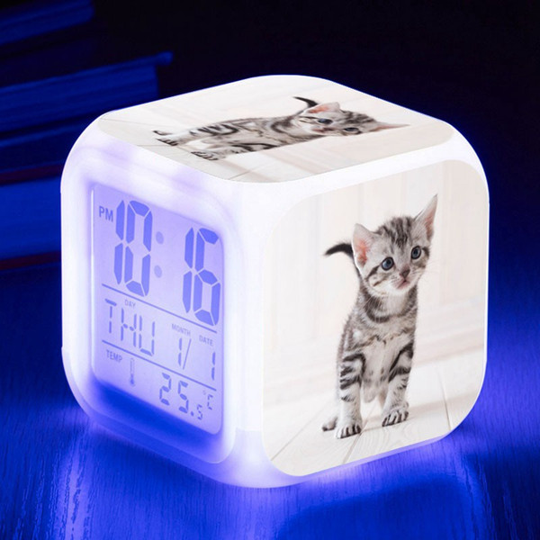 Temperatur / Kalender Dispaly LDC Clock Cute Katzen Drucken LED Wecker Kinder Spielzeug Uhr LED Digital reloj despertador
