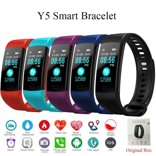 6 colour Y5 Smart Band Color Screen Wristband Heart Rate Monitor Wristband Fitness Tracker Bluetooth Smart Bracelet Sport Men Smartwatch