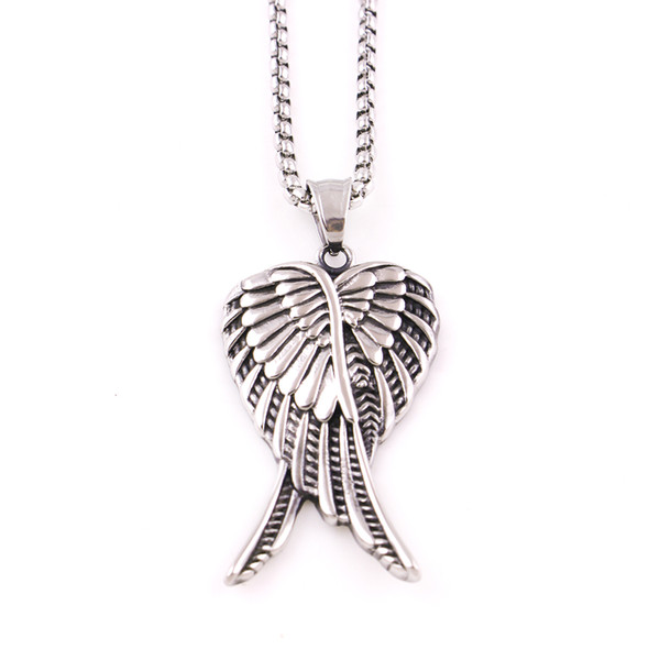 Fashion Antique Vintage Ancient Stainless Steel Pendant Angel Wings Necklace for Women Men Choker Charm Jewlery