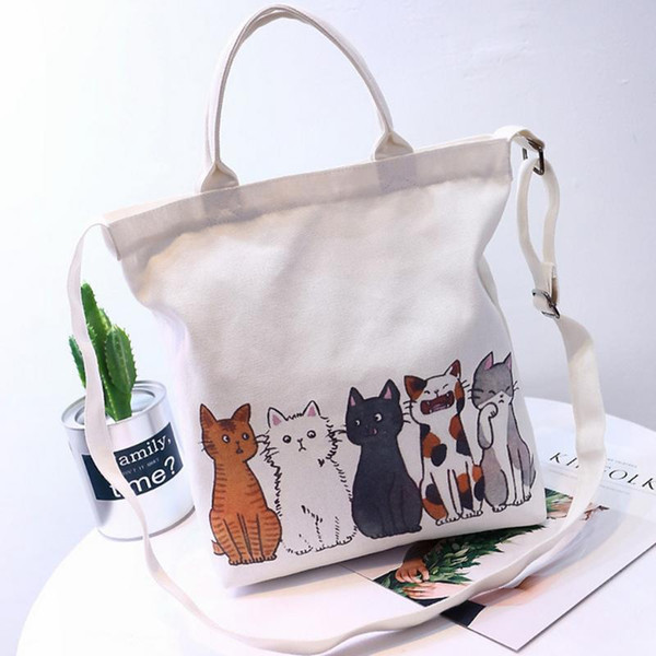 New Cat Print Canvas Shoulder Bag Female Sling Hand Bags Japanese Korean Student Fashion Handbags Crossbody Messenger Bag Purse