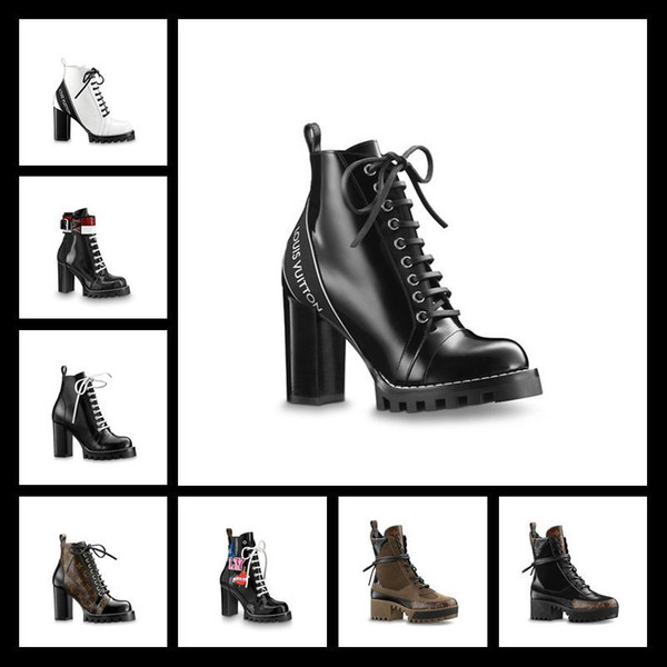18ss Dernières femmes de luxe concepteur bottes flamants Desert Desert Amour médaille flèche 100% cuir véritable taille grossière US5-11 chaussures d'hiver