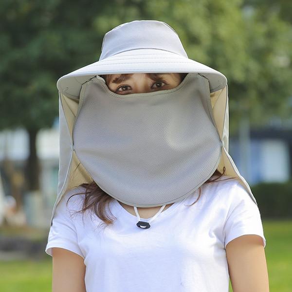 Myelo Flap Chapeaux UV 360 Protection solaire UPF 50+ Amovible Pliable Sun Caps NeckFace Flap Cover Caps Pour Femmes Randonnée D'été