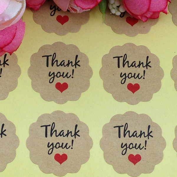 2000 Pcs Candy paper tags/Thank You love self-adhesive stickers kraft label sticker For DIY Hand Made kraft sticker Gift Cake