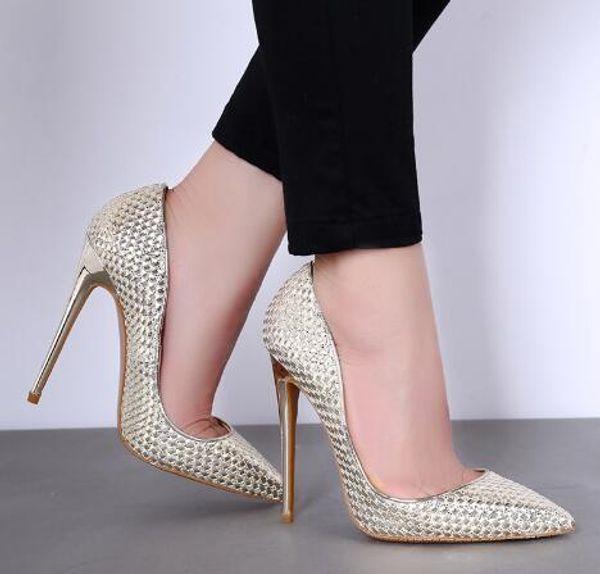 2018 Bahar ve Yaz Yüksek Topuklu Ayakkabılar Sivri Burun Ince Topuklu Madeni Pul Altın Kristal Düğün Ayakkabı Gelin Pompaları Sığ Ağız
