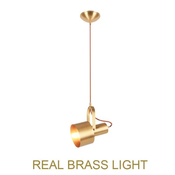 Simple brass LED pendant lamp light fixture spotlight bed reading room bedside modern rotatable LED spot light fixture bedroom