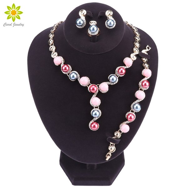 whole saleNew Fashion Gold Color Bridal Necklace & Earrings Imitation Pearl Jewelry Set Brides Wedding Jewellery Party Costume Accessories