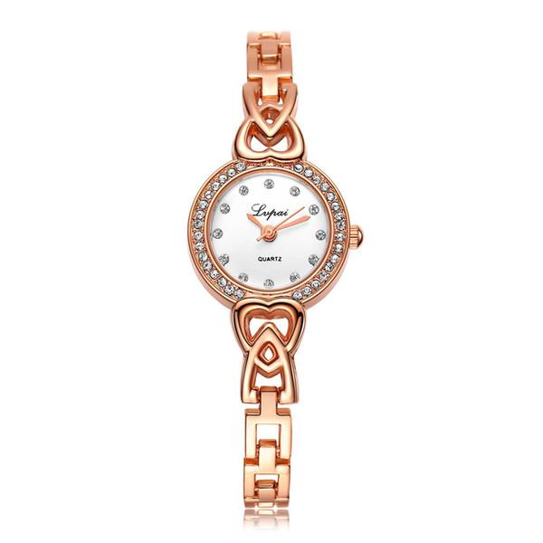 Luxus Damenuhr Edelstahl Strass Quarz Armbanduhr Damen Armband Kleid Neu # 5/22 1