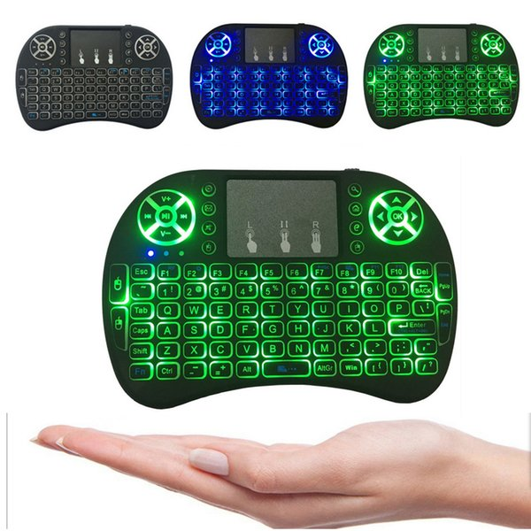 Mini i8 Tastatur Hintergrundbeleuchtung 2,4G Wireless Fly Air Mouse Mit Hintergrundbeleuchtung Touchpad 3 Farben Fernbedienungen Für MXQ pro X96 TV Box