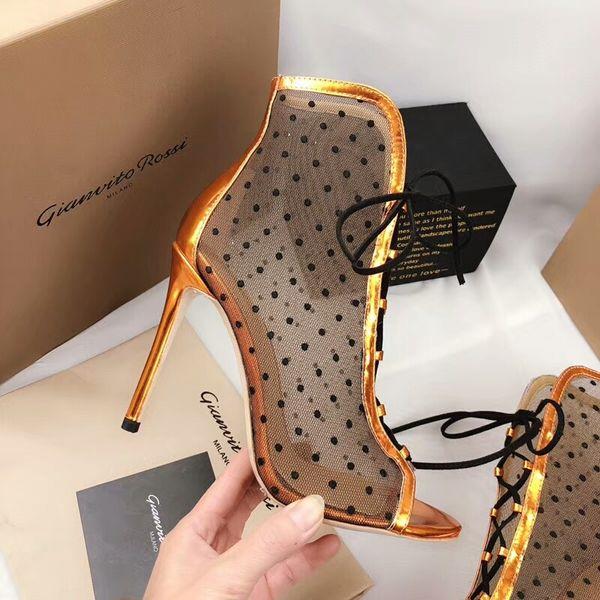 Polka Dots Femmes Voir à Travers Talons Hauts Bottines De Mode 2018 Open Toe Moto Bottes Martin Chaussures à Lacets Noir Or Blanc Zapatos
