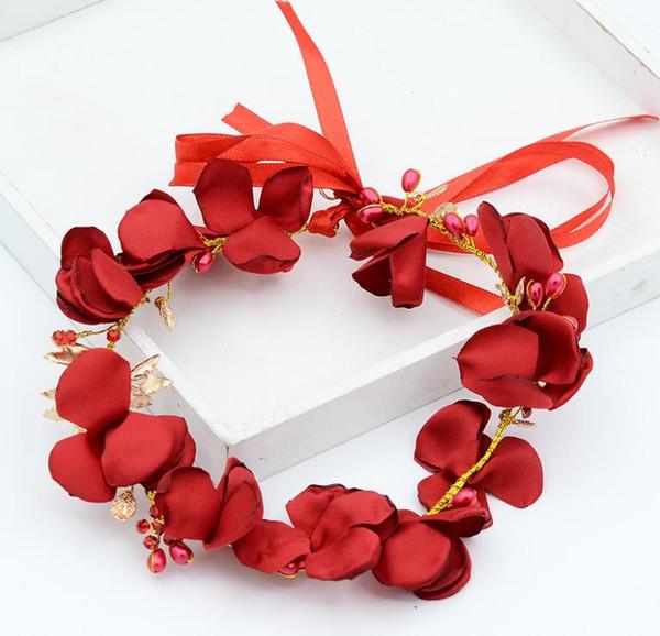 Compre Novias Vestido Rojo Sombrerería Rosas Cintas Para El Pelo Corona Accesorios De Boda Accesorios Hechos A Mano A 1207 Del Yqlpearls999