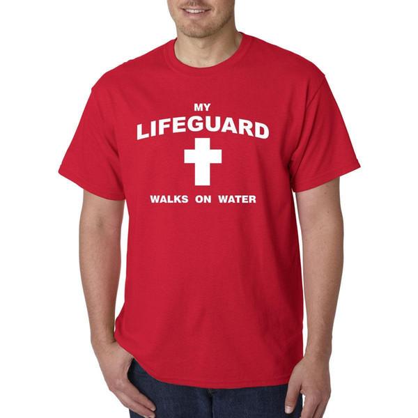 79fab769e85 My Lifeguard Walks On Water T-Shirt - Christian Catholic Religious Tee  Jesus god Mens