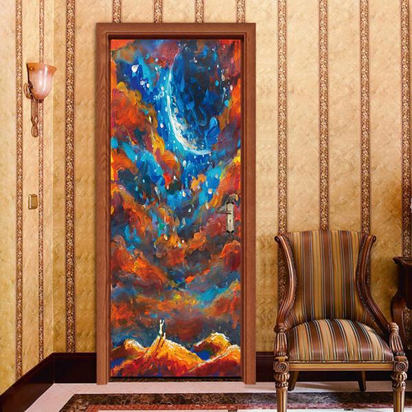 Art Oil Painting 3D Door Decal Wallpaper Paint Corridor Door Decorative PVC Wall Sticker Waterproof Removable Bedroom Living Room Home Decor