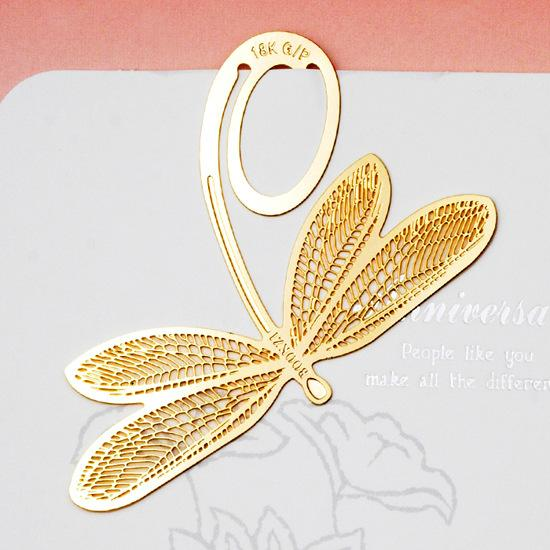 New Arrival Wholesale Golden Bronze Hollow Dragonfly Bookmark For Book Lover Birthday Return Gifts Souvenirs Guest