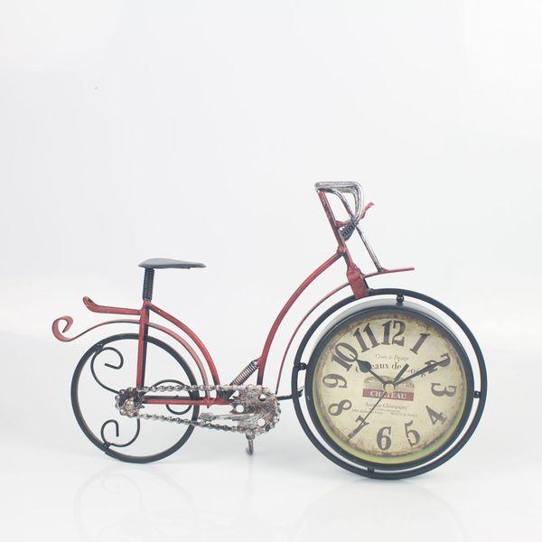 TUDA Free Shipping 13 Inch Retro Iron Crafts Bicycle Table Clock Hign Grade Home Decoration Table Clock Mute Quartz Alarm