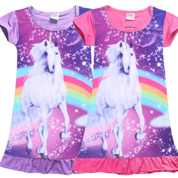 Children Girls Unicorn Princess Pajamas Dresses Kids Baby Printing Short Sleeves Dress Summer Cartoon Night Skirts 110-140cm 2 Colors