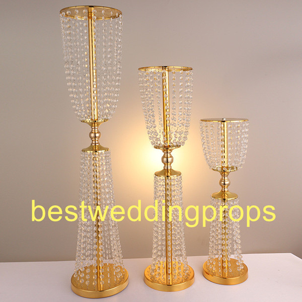 Acrylic Crystal Wedding gold stand Centerpiece Table Candle Holder Wedding Centerpiece Event Party Decoration Flower Stand best0084