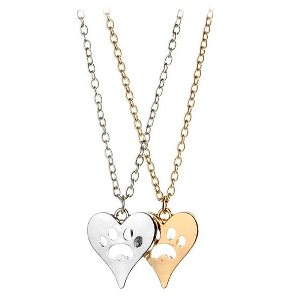 You Left Your Paw Prints on My Heart Rescue Dog Cat Silver-Tone Paw Print Heart Necklace Heart with Paw Cutout Pet Lover Jewelry