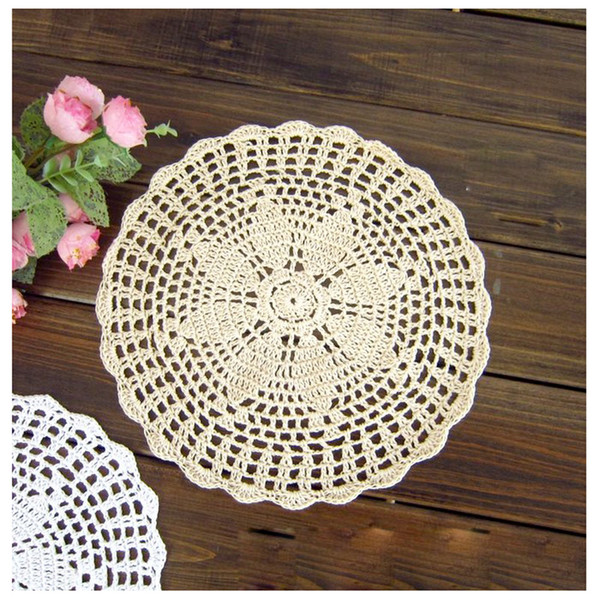 "Handmade Round Crochet Cotton Lace Table Doilies Placemats Floral Coasters Home Coffee Shop Decorative Crafts, 23cm(9.1"")"