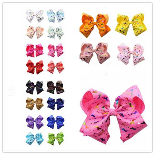 160pcs 8 Inch Rhinestone Hair Bow Jojo Bows With Clip For School Baby Children Large Sequin Rainbow Bow 8 Styles For valentines