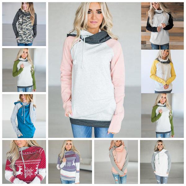 top popular Side Zipper Hooded Hoodies Women Patchwork Sweatshirt 13 Colors Double Hood Pullover Casual Hooded Tops OOA5359 2020