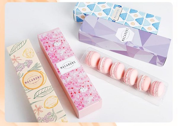 23*6*4.9cm 6cavities Macaron box dessert macarons boxes with plastic inner holding biscuit pastry packaging boxes100 pieces/lot SN1316