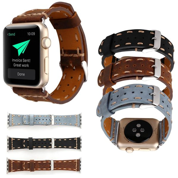 Stitching Leather Watch Bracelet For Apple Watch Band 42mm 38mm iWatch Accessories For Apple Strap Watchband
