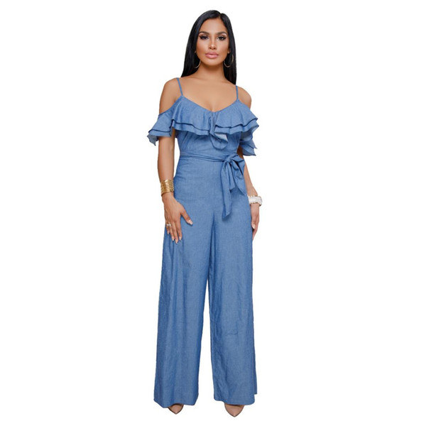 Sexy Strap Ruffles Jumpsuits Womens Summer Vintage Wide Leg Pants Denim Jumpsuits Rompers Female Overalls NS3968