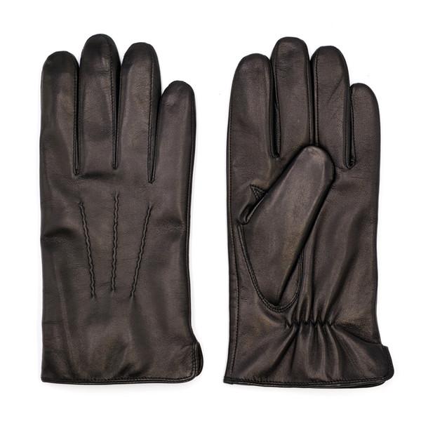 Gants de doigt en cuir de mouton italiens de luxe en cuir de mouton italien haut de gamme vintage finis hiver noir 100% cachemire doublé